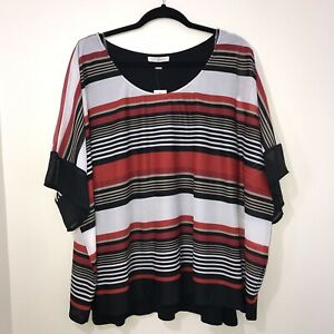Roz-amp-Ali-Red-White-Black-Top-Blouse-Shirt-Stripes-Size-3x-Dressbarn