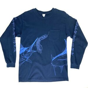 Yazbek-Mens-Medium-Blue-Fishing-T-Shirt-Pocket-All-Over-Print-Cabo-Vtg-90s