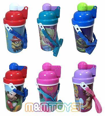 Disney Mickey Minnie Frozen Minions Canteen w/ Popup Lid & Straps Water Bottle
