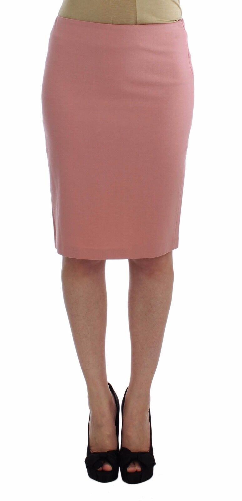 NEW EXTE Skirt Pink Wool Stretch Straight Pencil Knee Length S. IT40   US S