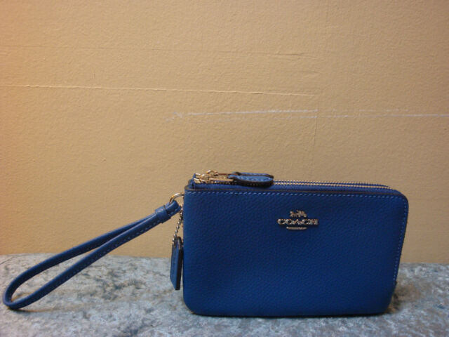 NWT Coach F87590 Double Corner Zip Wallet Wristlet Pebble Leather Atlantic Blue