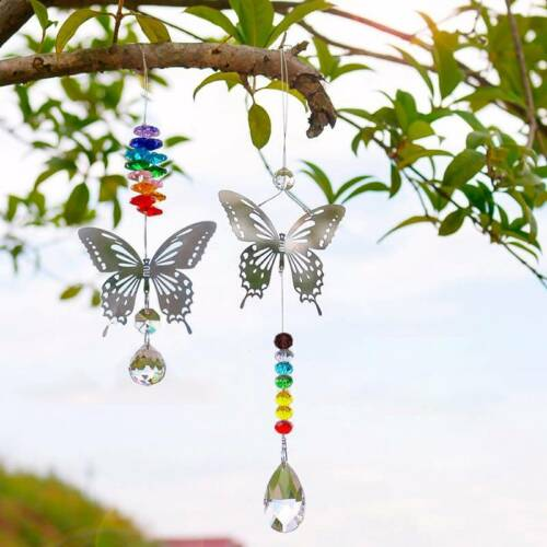 1PC Fashion Handmade Ball Hanging Butterfly Crystal Rainbow Prisms Home Decor
