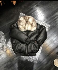 6e904f04818c SALE!!!VINTAGE BUBBLE V-BOMBER JACKET FROM 80 S BLACK WITH OFF WHITE ...