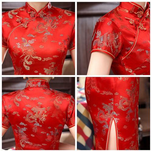 Lot cinese qipao Qa lungo da e Abito cheongsam sera Phoenix drago donna wXxqB7dB