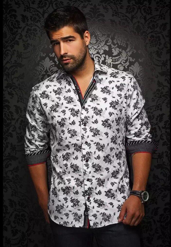 Au black Floral Nuovo White Men's Fashion Long SLEEVE floral pattern Dress SHIRT