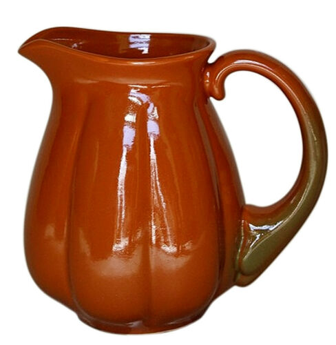 1 qt Pumpkin Shaped Brown Ceramic Jug Water Pitcher