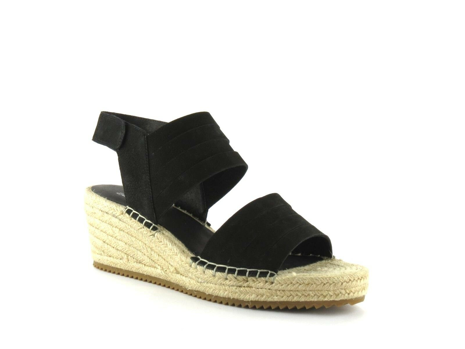 Eileen Fisher Largo Black Tumbled Nubuck Leather Espadrille Wedge Sandal NEW 11