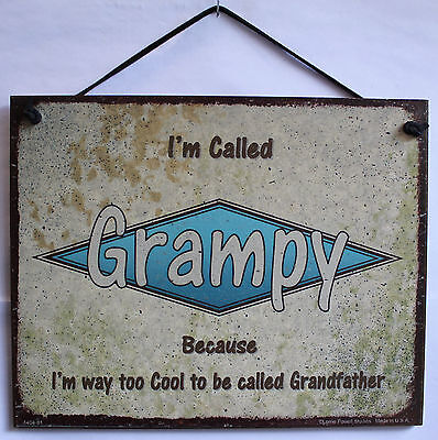 Grampy 5x8 Sign Too Cool Retro Hip Vtg Grandpa Grandfather Father Dad Best #1
