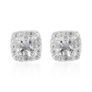 925 Sterling Silver Platinum Over Petalite Zircon Stud Solitaire Earrings Ct 1.5