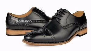4a6aba87bbf Men s Fashion Cap Toe Perforated Lace Up Oxfords Dress Shoes Black ...