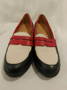 Women Hotter Red Navy White Dorset Penny Loafer Shoe Size ...