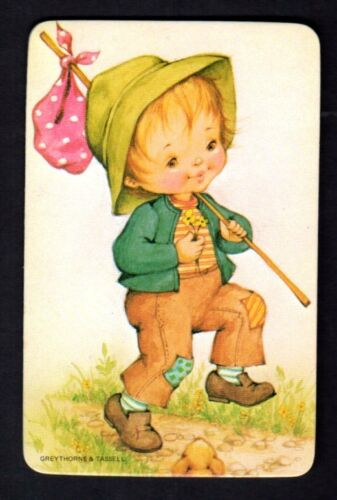 BLANK BACK Young Boy with Knapsack Vintage Swap Card