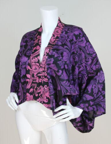 anteriore stampato in Sz M corte Indah kimono maniche a l Giacca rosa viola RwxdH11