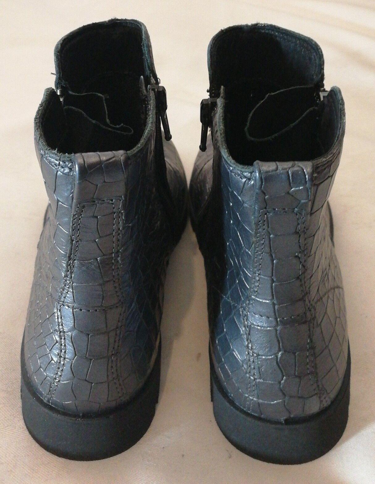Ecco Ecco Ecco Bella Embellecido Cuero Tobillo botas Con Cremallera Cómoda gris verde UK 3 EU 36 144eda