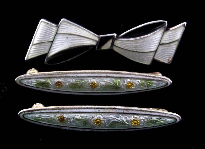 Mid-Century & Victorian Lot of 3 Sterling Guilloche Enamel Lingerie Mini Pins