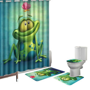 Image Is Loading 16 Pcs Humor Frog Green Bath Mat Set