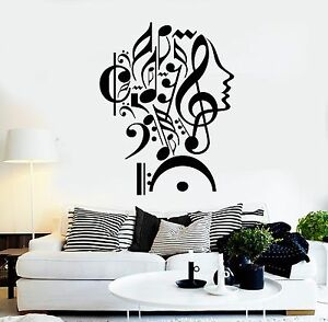 Details about Wall Stickers Vinyl Decal Notes Music Woman Teen Girl Face  Decor (z1983)