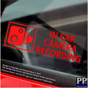 5 x In Car Camera Recording RED Warning Stickers-CCTV Sign-Van,Taxi,<wbr/>Mini Cab