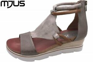 on sale 9c886 15ea0 Details zu MJUS Damen Keilsandalette Grau-Metallic Schuhe Leder 866002
