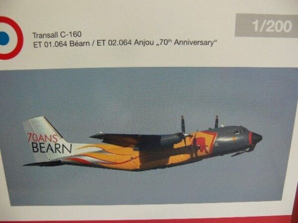 1 200 Herpa French Air Force transall c-160 64e Bearn 70th Anniversary 557955