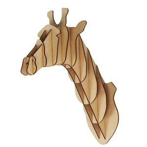 l s wooden giraffe trophy animal head 3d wall art kids. Black Bedroom Furniture Sets. Home Design Ideas