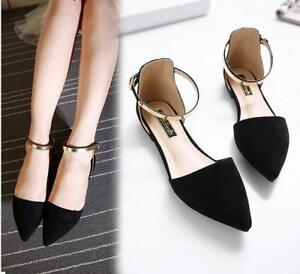 dd79a1cfb768f Womens Roma Faux Suede Pointy Toe Flat Pumps Shoes Ankle Strap ...