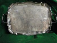 SILVER PLATED SHEFFIELD TRAY SIMPLE DESIGN  1900, ENGLISH ANTIQUE STYLE CRESTED