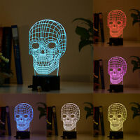 7 Colors 3d Illusion Skull Led Usb/battery Table Desk Night Light Bulb Halloween