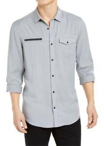 INC-Mens-Todd-Shirt-Gray-Size-XL-Zip-Accent-Single-Pocket-Button-Down-65-195