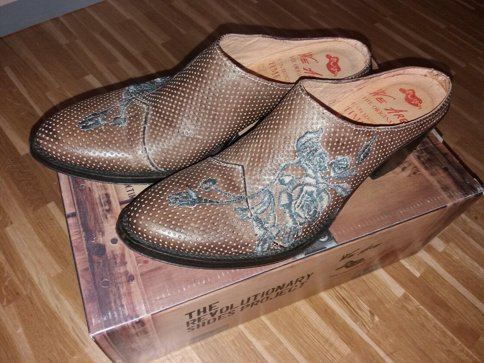 Gr.38 Damen Schuhe Pantoletten Echtleder aus Italien neu