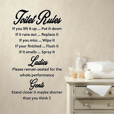 Wall Art Toilet Rules Quote Vinyl