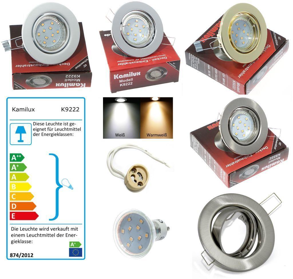 InsDimensionezione soffitto faretti Lia set completo incl. 230v gu10 5 Watt = 50 Watt SMD LED