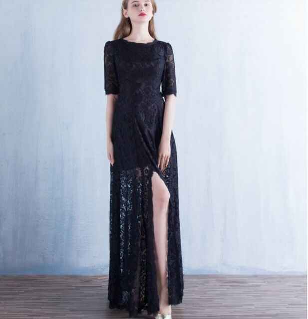 Black PLUS SIZE High quality Soft Lace PROM/BALL//WEDDING DRESS GOWN Size 18-28