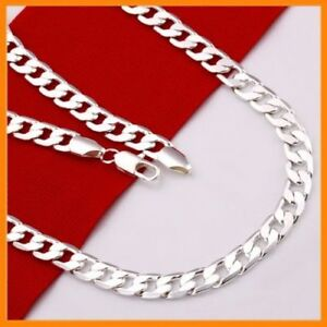 Stunning-925-Sterling-Silver-Filled-4MM-Classic-Curb-Necklace-Chain-Wholesale