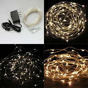 Warm White 10M 100 LED Copper Wire LED String Fairy Lights Lamp ...