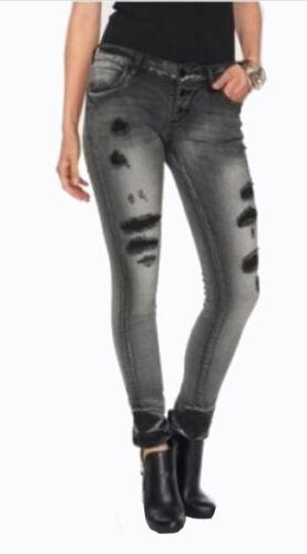NEU BLUE MONKEY Jeans LENA Skinny Destroyed Risse Löcher W27 W28 27 28 L34 grau
