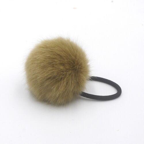 Rabbit Fur Ball Ties For Kids Girls Elastic Hair Bands Ponytail Ropes New