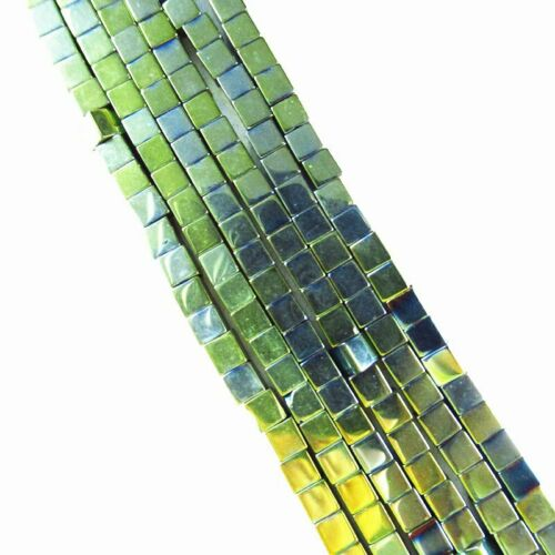 Army Green Hematite Cube Pendant Loose Bead 15.5 inch 3x3x3mm 15g A-486TS