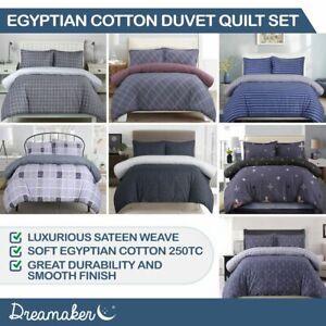 Dreamaker 250Tc Soft Spring Egyptian Printed Cotton Sateen Duvet Quilt Cover Set