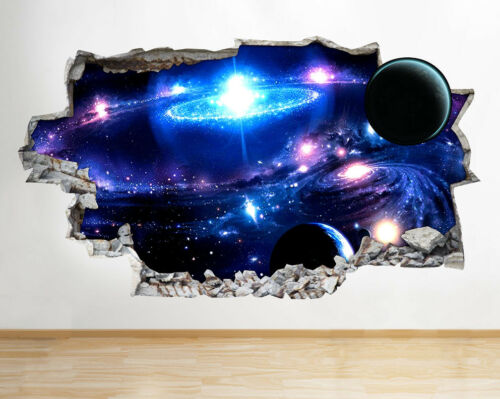 Wall Stickers Space Nebula Galaxy Universe Smashed Decal 3D Art Vinyl Room F327