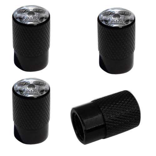 CHROME SKULL SF 9U3 4 Black Billet Aluminum Knurled Tire Air Valve Stem Caps