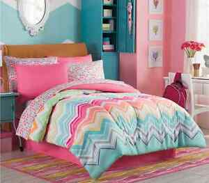 marielle twin size complete girl comforter set teen bedding collection pink teal ebay. Black Bedroom Furniture Sets. Home Design Ideas