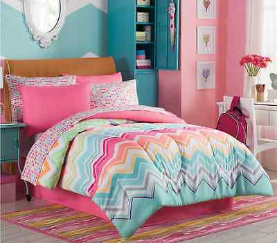 Marielle Twin Size Complete Girl Comforter Set Teen Bedding Collection Pink Teal EBay