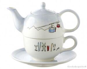 Tea-For-One-Set-Ski-Holiday-Alpin-Mila-Design-Tee-Kanne-Tasse-Teller-Set