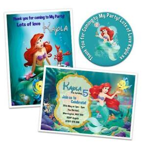 Details About Ariel Little Mermaid Personalised Birthday Party Invitation Card Invite Sticker