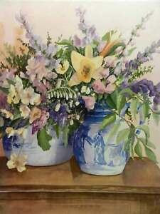 Porcelain-Bouquet-2-by-Robert-White-Blue-White-Oriental-Pottery-Flowers-Wall-Art