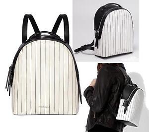 BNWT Fiorelli WHITE STRIPE Black White Anouk Mini Small Backpack Bag ...
