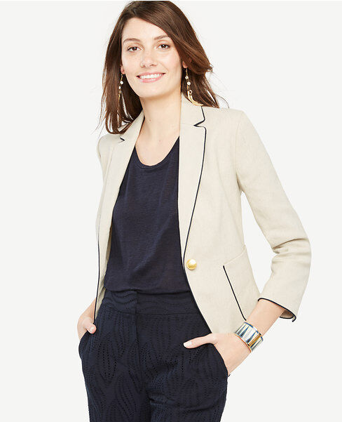 Ann Taylor - Size 12 Natural Tan Beige Piped Linen Blend Blazer  159.00 NWT(402)