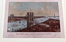 24x36 Vintage Map New York Great East River Suspension Bridge 1885