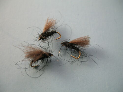 16,18 3 x CDC BLACK MIDGE ON BARBLESS HOOKS sizes 14 available